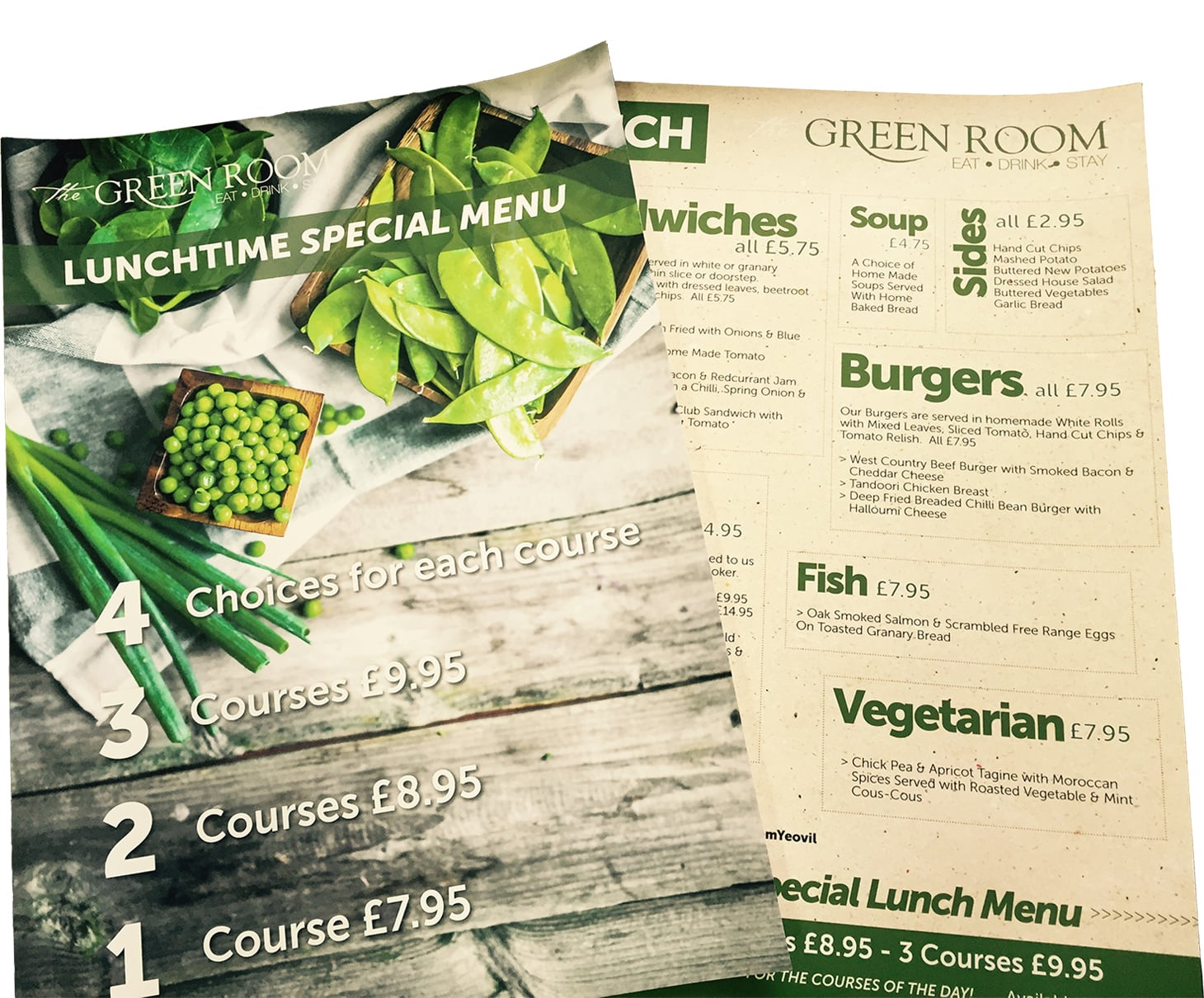 Lupimedia Yeovil Design for Print, Menus, Posters, Flyers. Example of Menu design for The Green Room Restaurant in Yeovil